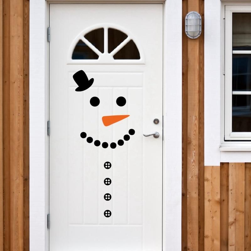 Snowman decal front door fridge christmas decor vinyl wall for Decorar las puertas en navidad
