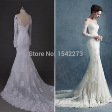 Real Photo Romantic Mermaid Lace Strapless Chapel Train Vestido De Noiva Wedding Dress 2015 Natural Vestidos For Bride