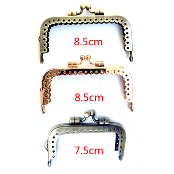 10Pcs Smooth Face Ball Heads Rectangle Metal Frame Clutch Kiss Clasp Coins Purse Bag Handbag Handle Part