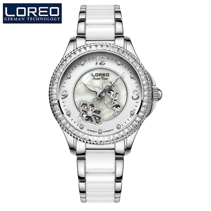 LOREO Brand Luxury Women Mechanical Wristwatches Leather Strap Watch Female Gold Scorpio'S Watch With BOX horloges vrouw K51 oulm brand mens rectangle leather strap hand wind mechanical watch fashion casual wristwatches with gift box relogio releges