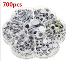 700Pcs Lot Round Self adhesive DIY Wiggly Google Eyes 7 Sizes Plastic Cartoon Animal Doll Puppet