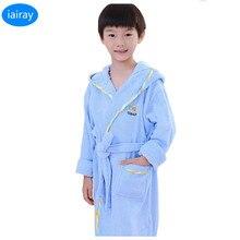 Купить с кэшбэком iAiRAY sleepwear kids robe autumn 2018 cotton towel bathrobe for children pajamas for boys roupao sleepers pijamas kids clothes
