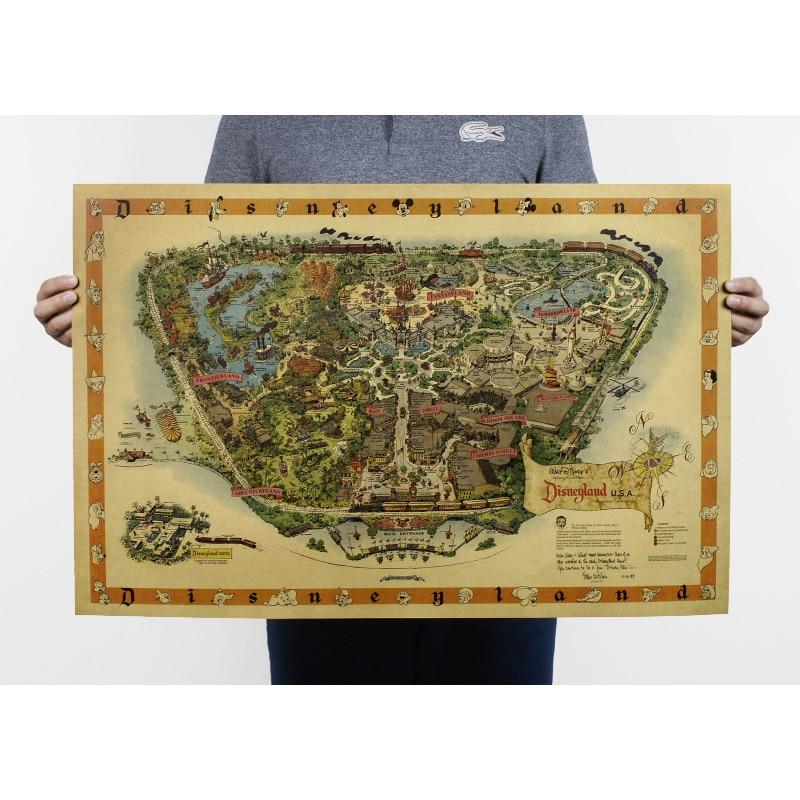 Gratis frakt, Handteckning / Disneyland karta / Nostalgi foto / kraftpapper / baraffisch / Retro affisch / dekorativ målning 72x48cm