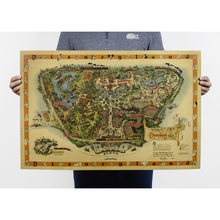 Free shipping,Hand drawing /Disneyland map /Nostalgia photo/kraft paper/bar poster/Retro Poster/decorative painting 72x48cm(China)