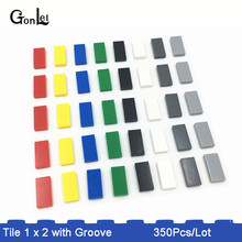 350Pcs/lot MOC Brick Tiles 1 x 2 with Groove Building Blocks Parts DIY Educational Creative Toys Compatible with 3069B gift цены