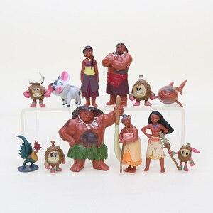 Moana Action Figures Toys Heihei Tamatoa Chief Tui Sina Tala 12Pcs/Set Gift Doll Plastic Anime Action Figures Anime Toys Gift(China)