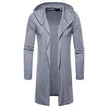 3eb2727df0b9 Hombres suéter cardigan camisa masculina Mens ajuste Delgado suéter de punto  con capucha chaqueta de moda larga trinchera abrigo.
