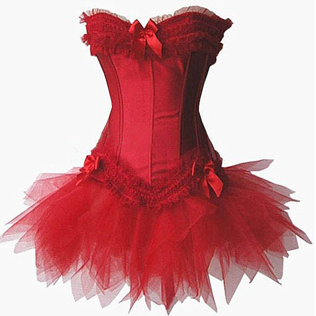 Wholesale Red Sexy Gothic corsets Dress women corsets hot shapers body intimates corsets and bustiers with tutu skirt