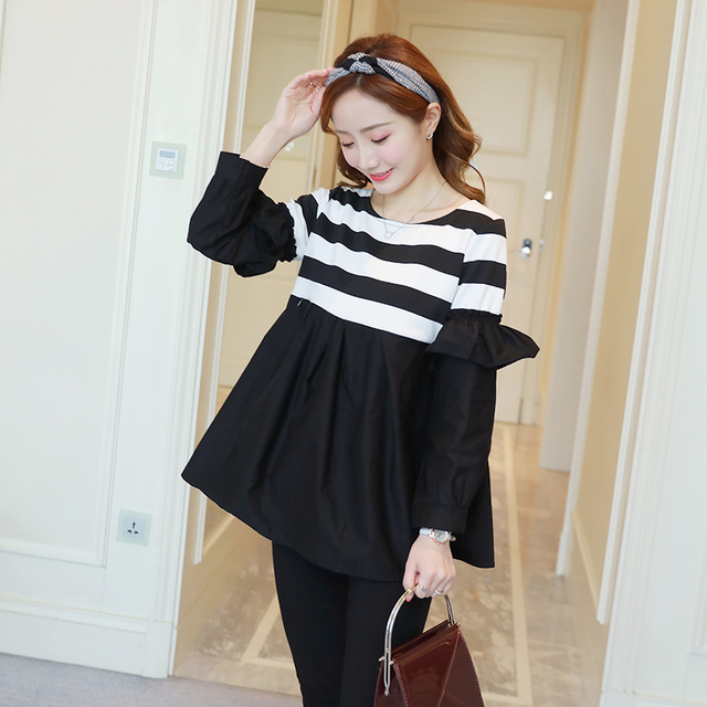 571d16b2cdd 8076  Black Striped Cotton Patchwork Maternity Nursing Shirts Sweet Cute  Tunic Clothes for Pregnant Women Pregnancy Tops Blouses