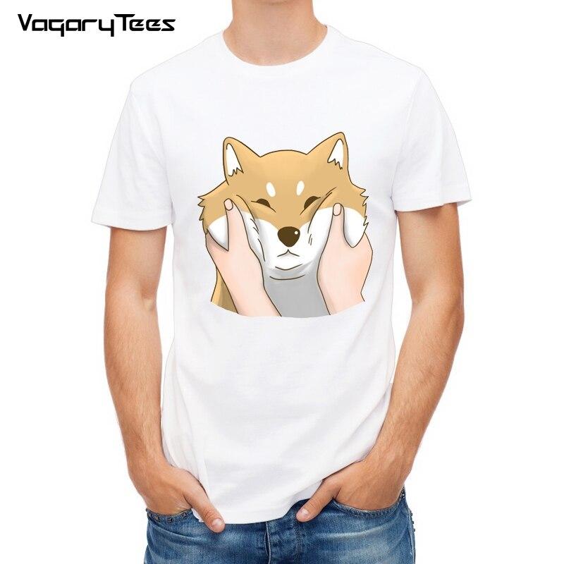 Funny T shirt Men Shiba Inu Fashion Tees Cartoon Dog White T-shirt Cotton Tops Hipster Cute Chubby Cheeks Shiba Inu