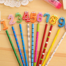 40 قطعة/الوحدة Kawaii عدد تصميم أقلام خشبية مكتب ودراسة أقلام لطيفة هدية جائزة القرطاسية أقلام الاطفال الهدايا بالجملة