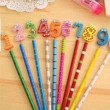 40 PCS/lot Kawaii numéro conception en bois crayons bureau et étude crayons beau cadeau prix papeterie crayons enfants cadeaux en gros