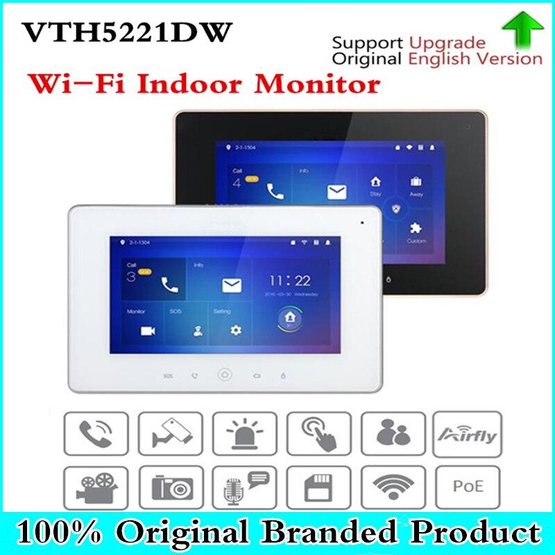 Original wifi indoor monitor VTH5221D/DW Wi-Fi H.264 SD Card slot black white VTH5221D VTH5221DW Video Intercom without logo free shipping dahua video intercom 7inches wi fi indoor monitor without logo vth5221d vth5221dw