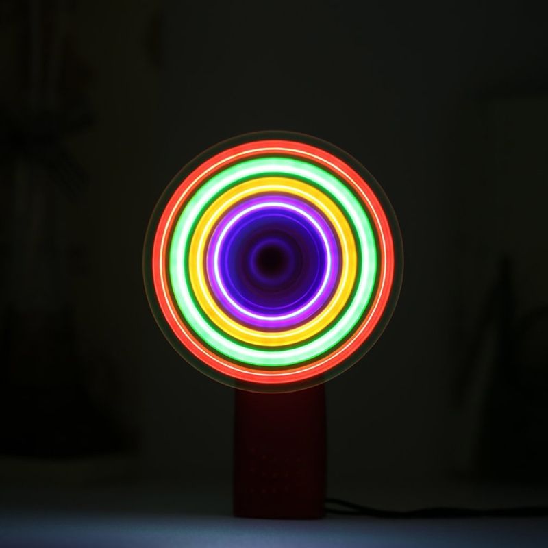 Portable Handheld Cooling Fan Colorful LED Mini Light Battery Power With Strap