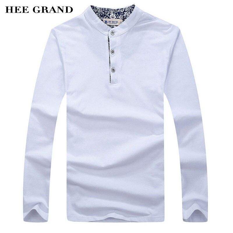 HEE GRAND À Manches Longues T chemises Hommes de Collier de Stand Solide Couleur Printemps Automne Casual T-shirts En Coton Tops MTL743