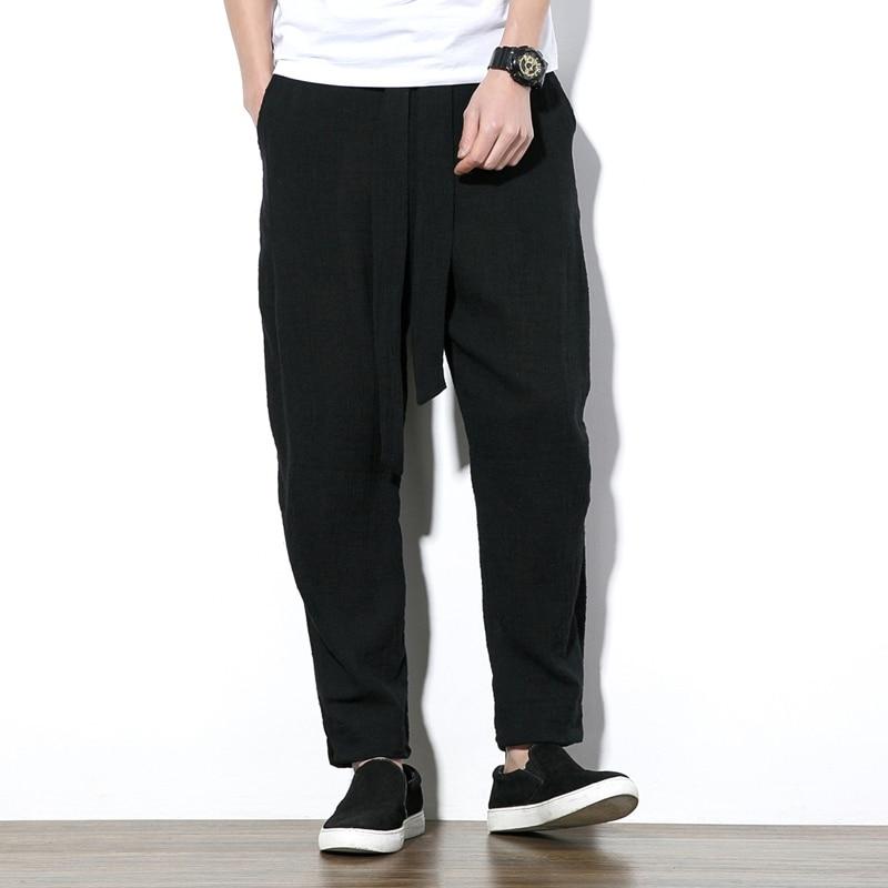 Jogger Sweatpants Trousers Harem Loose Cotton Linen Male Men Fashion Casual Solid Leisure