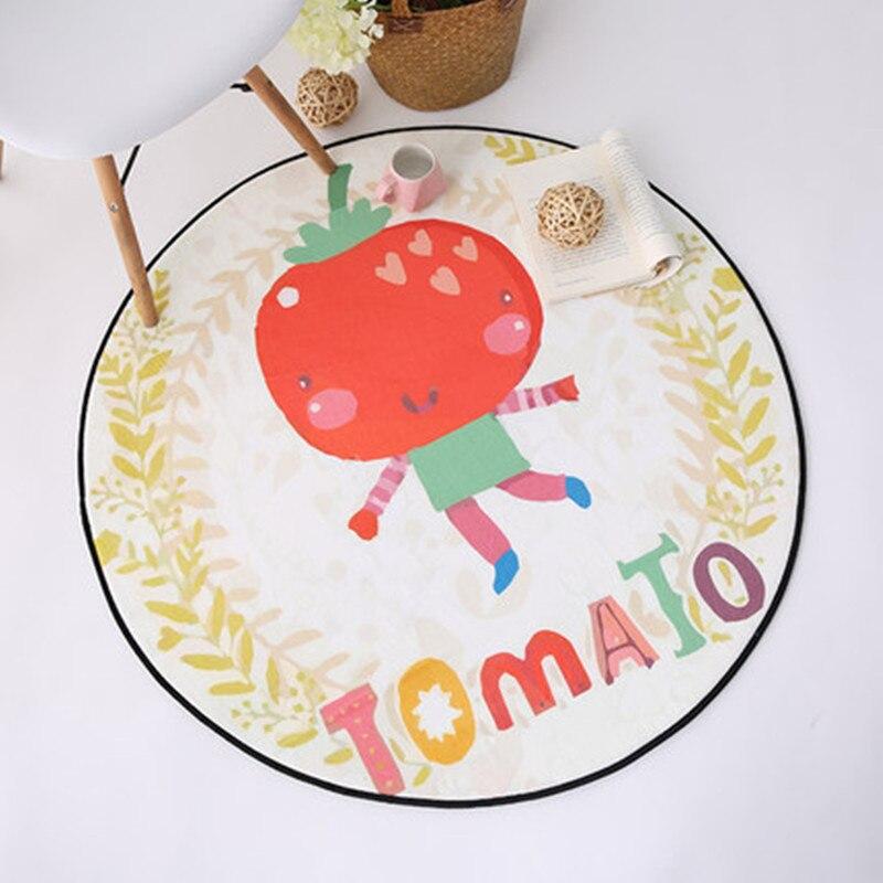 Creativity Cartoon tomato Print Round Carpets Child Living Room Cute Carpet Kids Room Decor Chair Rugs Home Entrance Doormat Rug