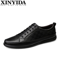 Большие Брендовые мужские туфли из натуральной кожи для скейтбординга повседневные кроссовки из проветриваемой ткани со шнуровкой модные ...