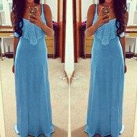 Hot Sales Neon Color Women Long Dresses 2016 Sexy Spaghetti Strap Lace Summer Maxi Dress Vest