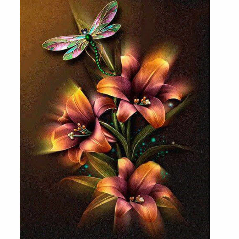 5D Embroidery Paintings Beautiful flowers Rhinestone Pasted DIY Diamond Painting Cross Stitch rhinestones Diamond Mosaic