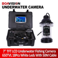 1/3 SONY CCD Effio-E 650TVL Underwater Fishing Camera Fish Finder 7″ TFT LCD Monitor 50M Cable 18Pcs White LED Rotate 360 Degree