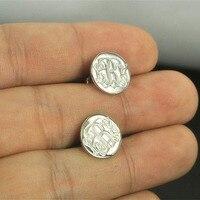 Wholesale Monogram Stud Earring Silver Personalized Engraved Circle Disc Earrings Name Jewelry Bridesmaid Gift Pendiente