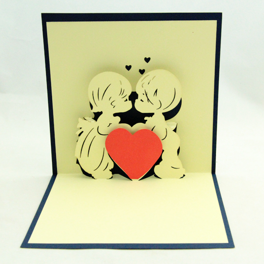 Love kiss card /3D card pop up card/ gift card boy and girl kissing