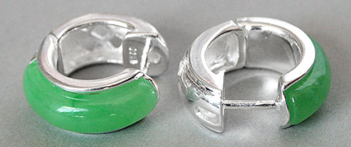 Free Shipping 925 Sterling Silver Jewelry Inlay Natural Green diameter 18mm Stud Earrings 5.29