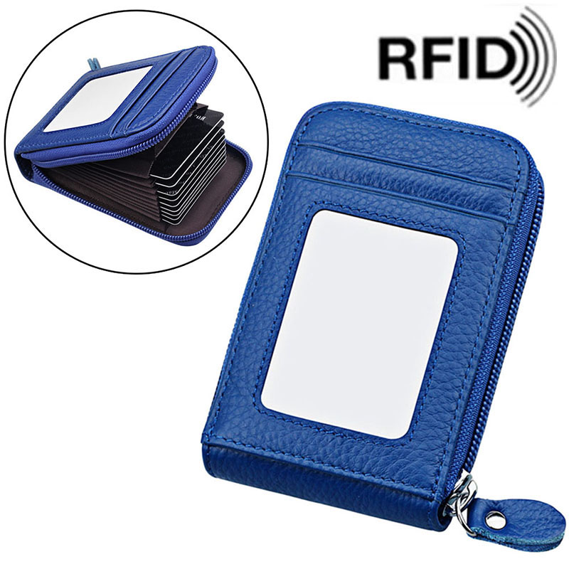 ID Credit Card Holder Cow Leather Zipper Blocking Cards
