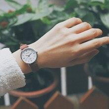 6a0fa542c النسخة الكورية أزياء النساء ساعات كوارتز بسيطة ulzzang الفاخرة أعلى العلامة  التجارية الإناث ساعة معصم جلد