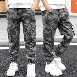 Image 4 - Abesay Herbst Camouflage Hose Für Jungen Casual Jungen Hosen Lose Kinder Hosen Winter Teenager Jungen Kleidung 6 8 12 Jahre