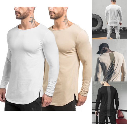Fashion Men Slim Fit O-Neck Long Sleeve Muscle Tee T-shirt Casual Tops Blouse US