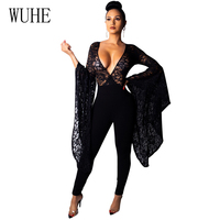 WUHE Sexy Sheer Black Lace Jumpsuit Bodysuit Women See Through Flare Long Sleeve Deep V Neck Rompers Long Pants Party Overalls