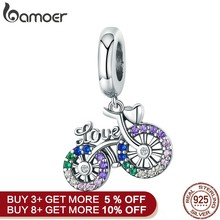 BAMOER 925 Sterling Silver Crystal Bike Bicycle Shape Pendant Charms fit Original Bracelets & Necklaces DIY Jewelry Gift SCC1082(China)