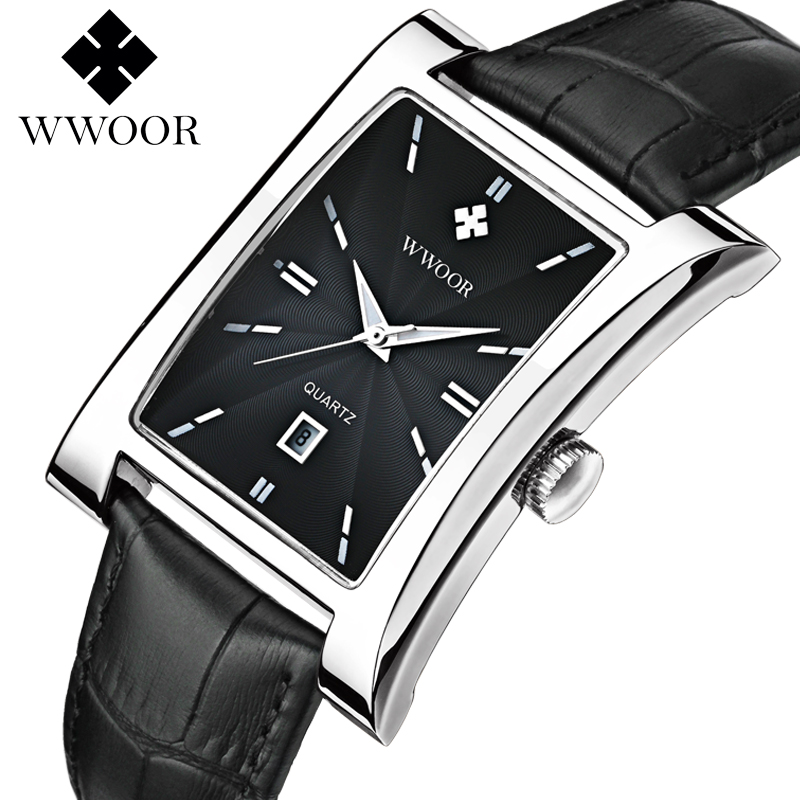 2017 WWoor Luxury Brand Vintage Quartz Mens Square Stainless Steel Waterproof Leather Watch Business Men2017 WWoor Luxury Brand Vintage Quartz Mens Square Stainless Steel Waterproof Leather Watch Business Men
