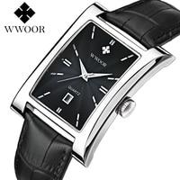 2017 WWoor Luxury Brand Vintage Quartz Men's Square Stainless Steel Waterproof Leather Watch Business Men