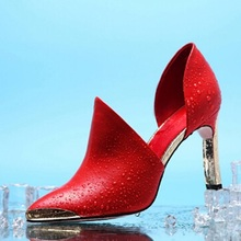2016 New Hot Sexy Wedding Elegant Shoes High Heels Wearing Genuine Leather Women's High-Heeled Shoes Black Shoes With Red Bottom
