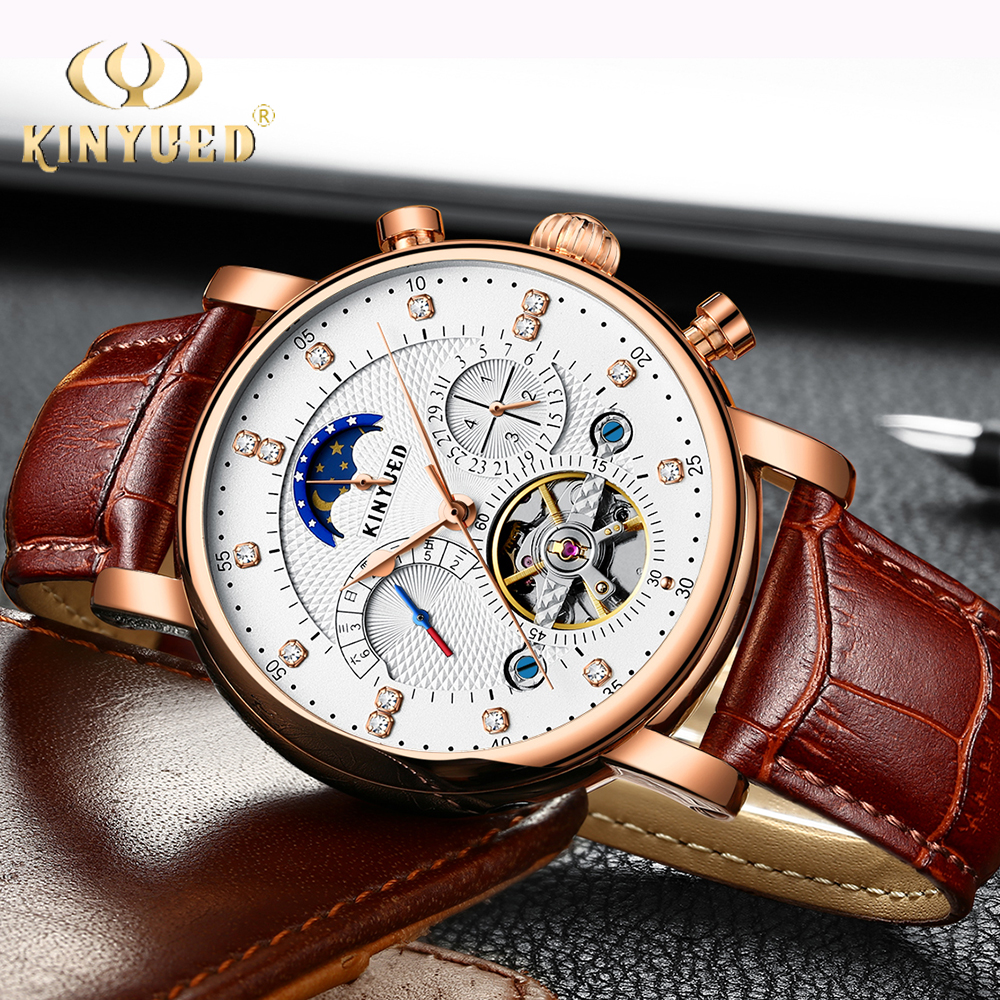 KINYUED Skeleton Mechanical Watches Mens Classic Rose Gold Tourbillon Automatic Watch Men Moon Phase Calendar Relogio Masculino kinyued automatic mens watch flying tourbillon skeleton mechanical self winding watches men calendar relogio masculino dropship