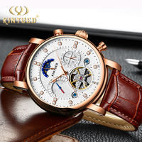 KINYUED Skeleton Mechanical Watches Mens Classic Rose Gold Tourbillon Automatic Watch Men Moon Phase Calendar Relogio Masculino