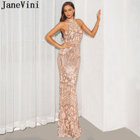 JaneVini Rose Gold Dress Long Prom Gowns Bling Sequined Halter Elegant Mermaid Red Carpet Dress Sexy Backless Evening Gowns 2019