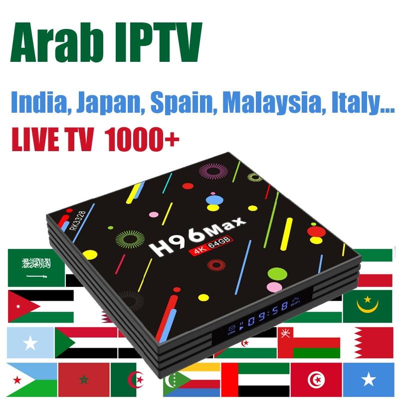 H96 França Caixa de IPTV Vida livre 1000 + 4G/64G android 7.1 caixa de tv Assinatura Ásia Japão espanha Índia Itália China Canais HD