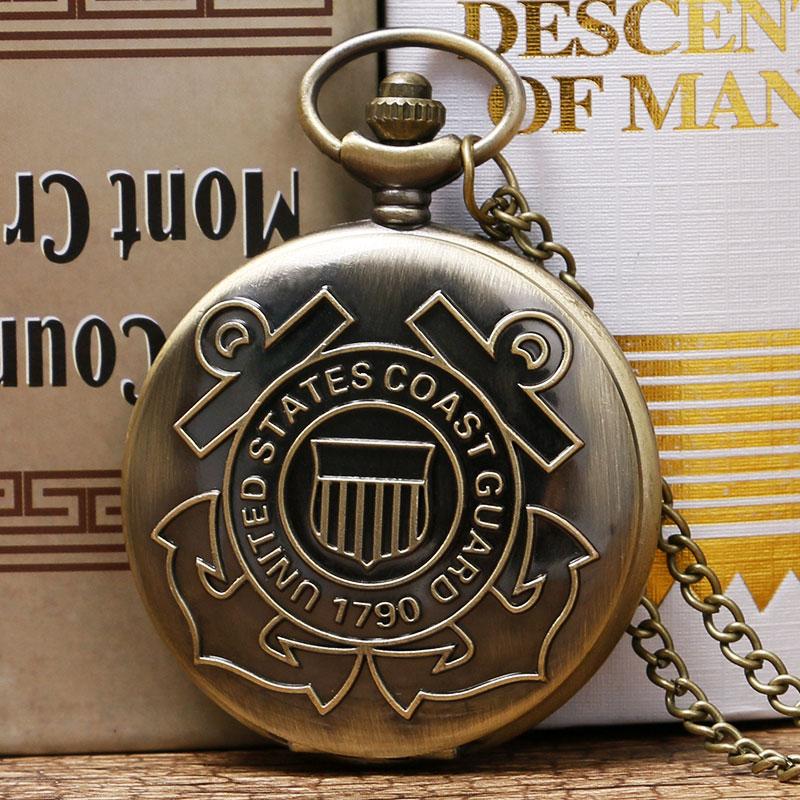 Vintage 1790 United States Coast Guard Theme Bronze Quartz Pendant Fob Pocket Watch With Necklace Chain Gift For Men Women