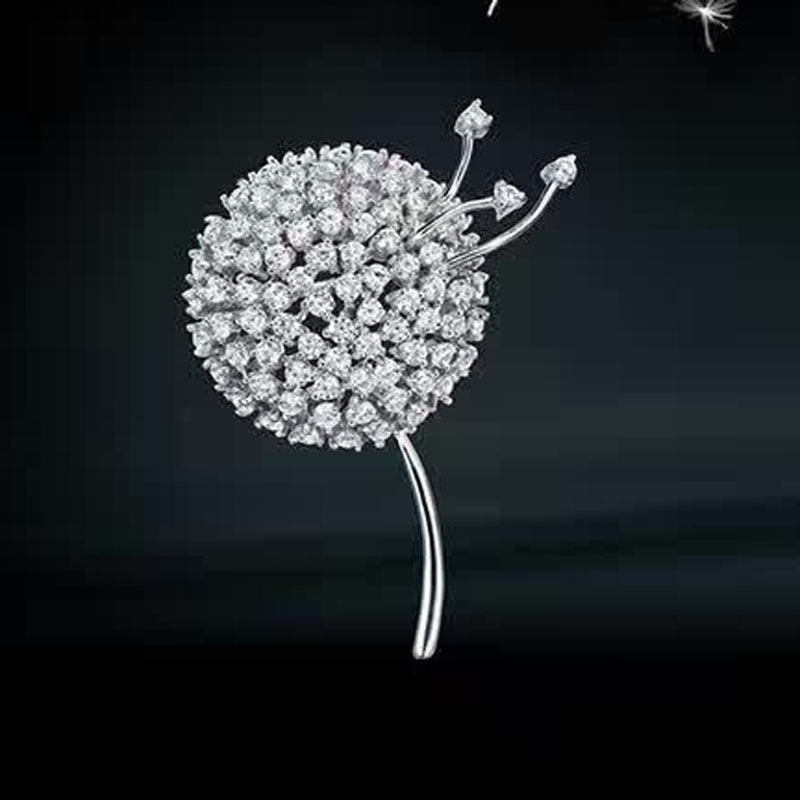 Red Trees Fashion Dandelion Brooch For Women Real 925 Sterling Silver Fine Jewelry Elegant Sweater Accessories