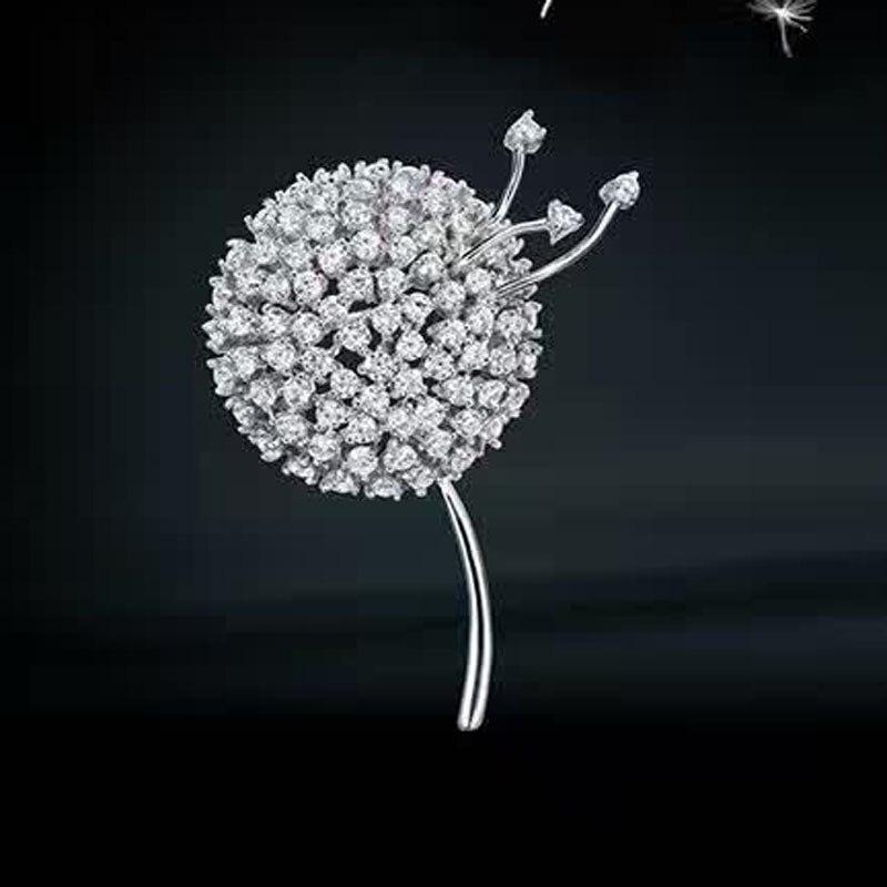 Alberi Red Fashion Dandelion Spilla Per Le Donne Reali 925 Sterling Silver Gioielli Eleganti Accessori Maglione