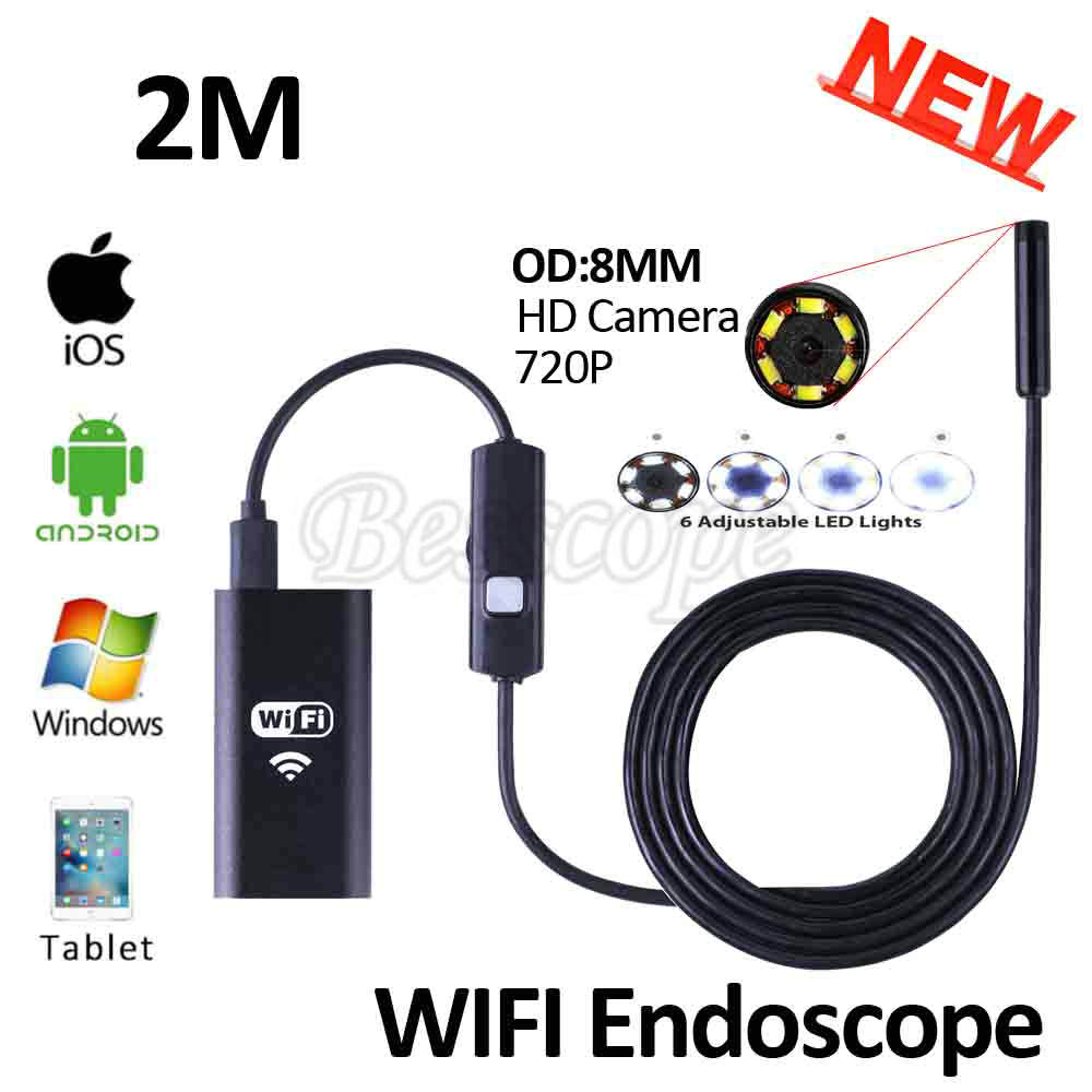 8mm Lens 2M Iphone IOS WIFI Endoscope Camera HD720P Snake USB Pipe Inspection Borescope Android Phone Tablet PC HD Camera 6LEDS 8mm 1m 2m 3 5m wifi ios endoscope camera borescope ip67 waterproof inspection for iphone endoscope android pc hd ip camera