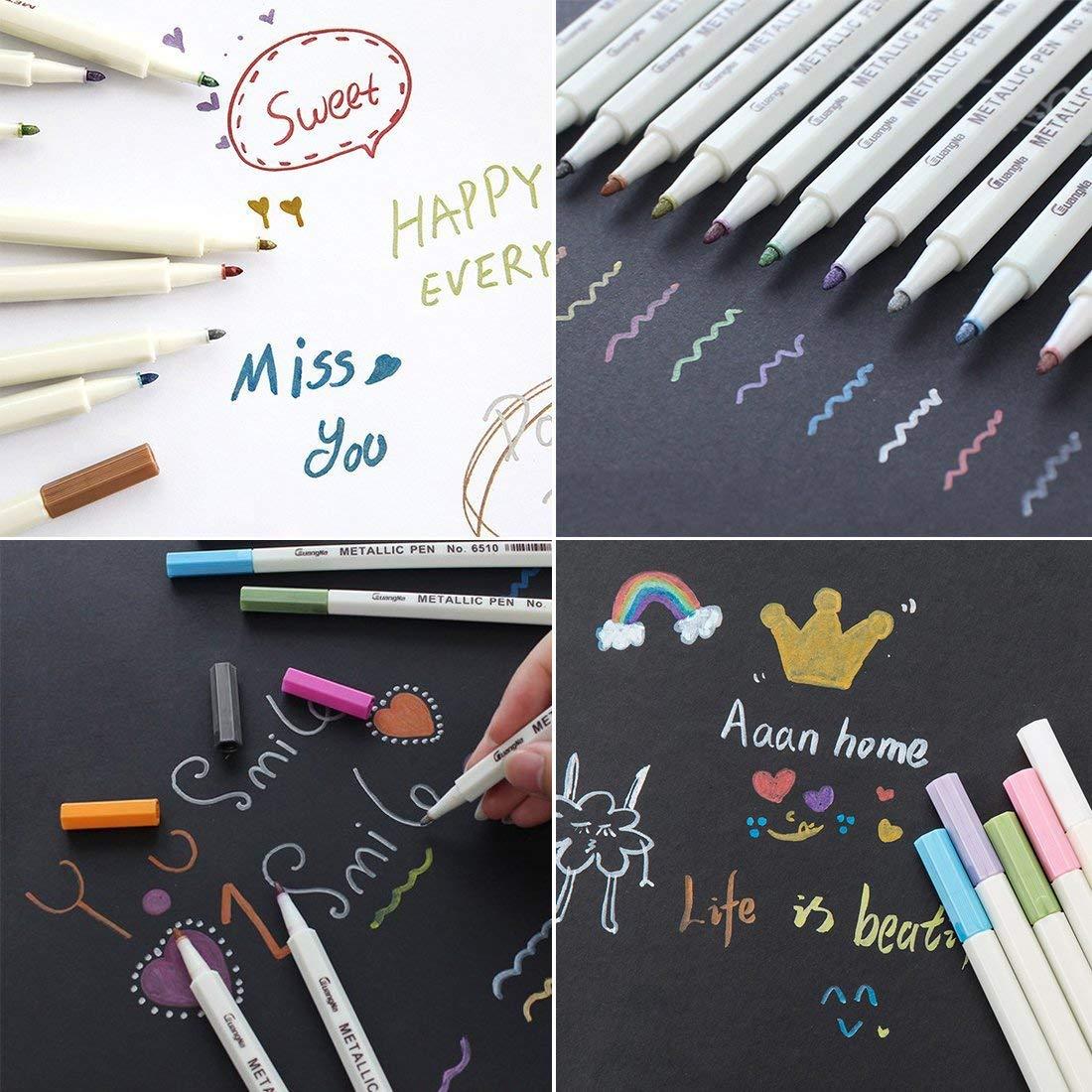15 Colors Metallic Marker Pen Art Marker Soft Brush Pen For DIY Scrapbooking Crafts Black Paper Stationery School Supplies