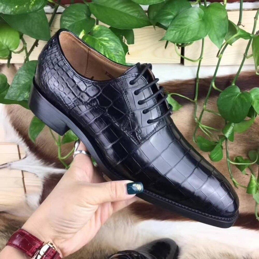 100% Genuine Real Crocodile Head Skin Men Shoe Durable Solid Crocodile Tail Skin Men Dress Business Shoe Dark Blue Color Men's Shoes