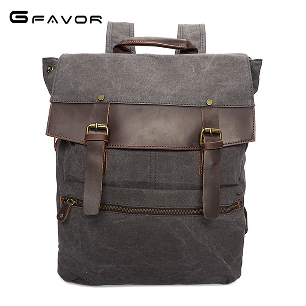 G-FAVOR Vintage Canvas Laptop Backpack Men Cover Computer Shoulder Bag Male High Quality Large Capacity Travel Bags ruil 2017 high capacity backpack men s travel durable schoolbag laptop large capacity computer bag