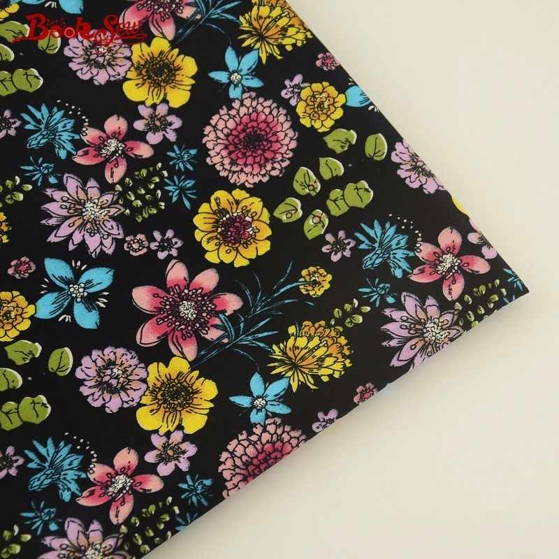 Booksew 100% Cotton Poplin Fabric Floral Design Black Fat Quarter Quilting Material For Shirt Clothing Craft Dress Scrapbooking