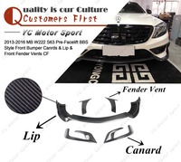 Car Accessories Carbon Fiber Pre Facelift BBS Style Front Bumper Canrds & Lip & Front Fender Vents Fit For 2013 2016 MB W222 S63